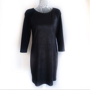Black Elie Tahari faux leather sheath dress 2